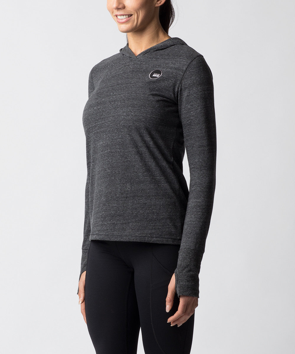 Women's Charcoal Gray Tri-blend Long sleeve Hoodie - Angle View