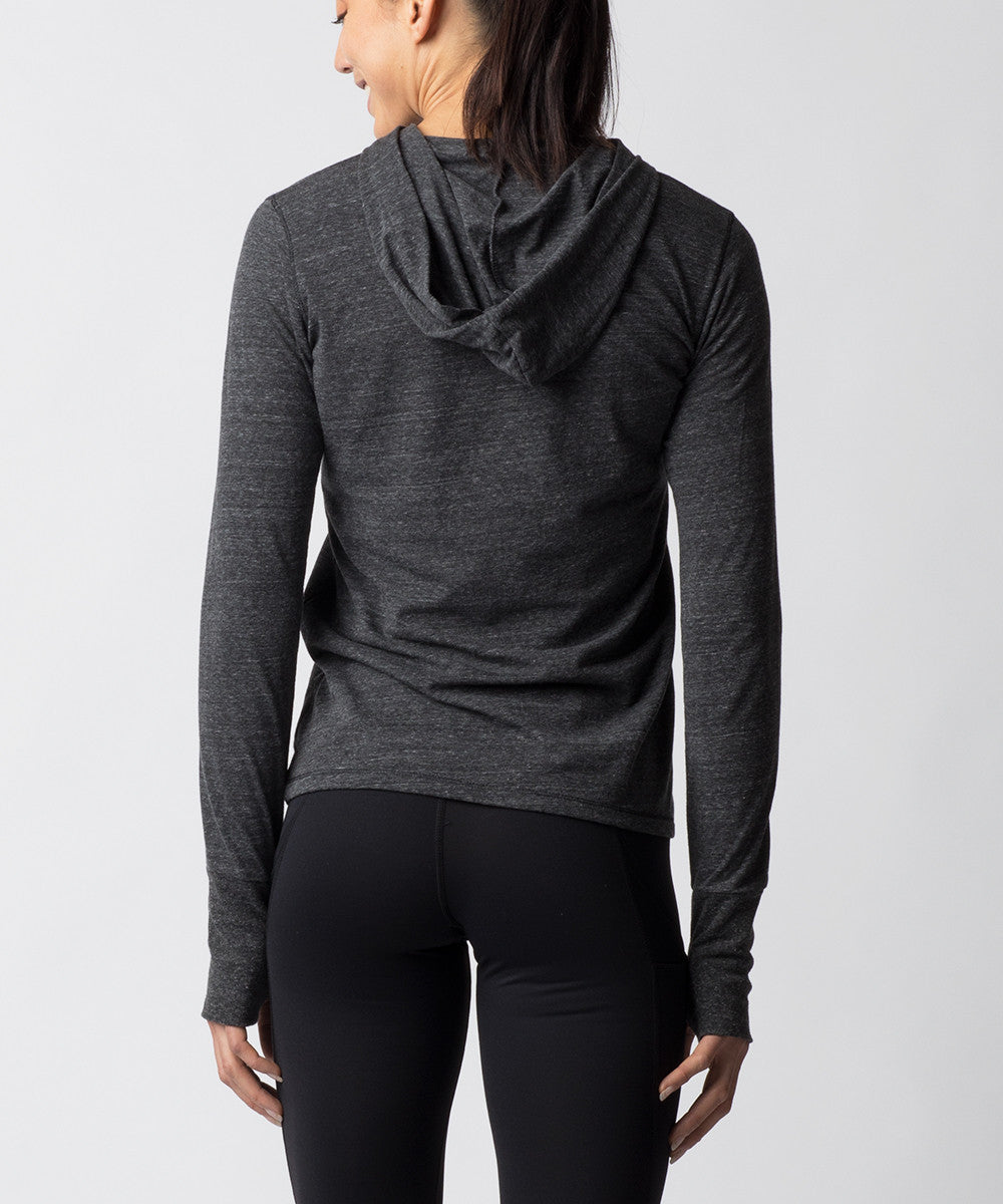 Women's Charcoal Gray Tri-blend Long sleeve Hoodie - Back View
