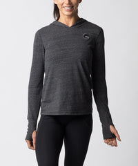 Women's Charcoal Gray Tri-blend Long sleeve Hoodie - Straight View