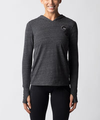 Women's Charcoal Gray Tri-blend Long sleeve Hoodie - Front View