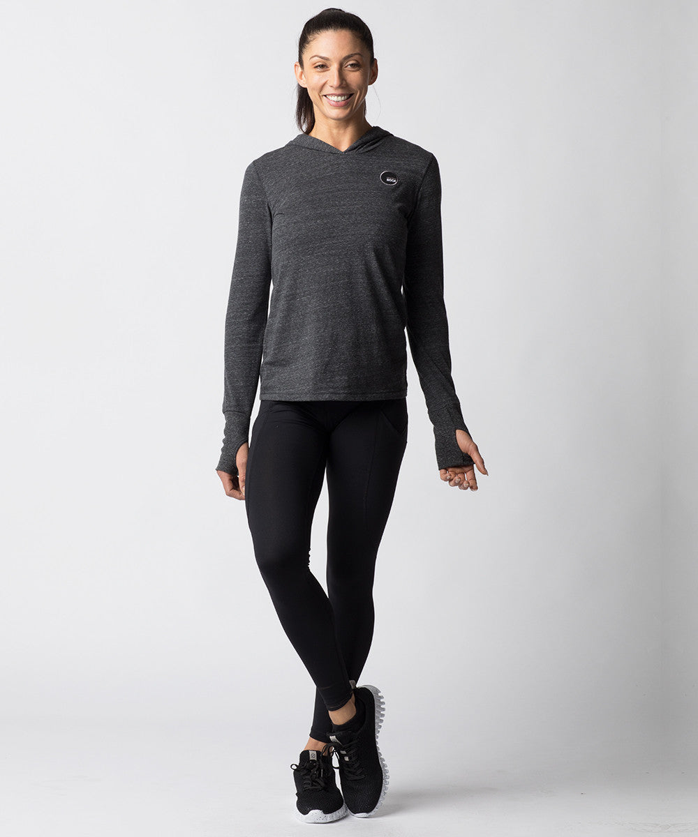 Women's Charcoal Gray Tri-blend Long sleeve Hoodie - Lifestyle View