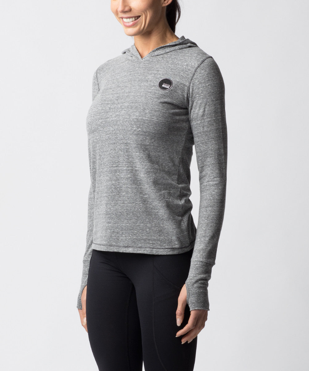 Women's Light Gray Tri-blend Long sleeve Hoodie - Angle View