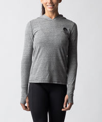 Women's Light Gray Tri-blend Long sleeve Hoodie - Straight View