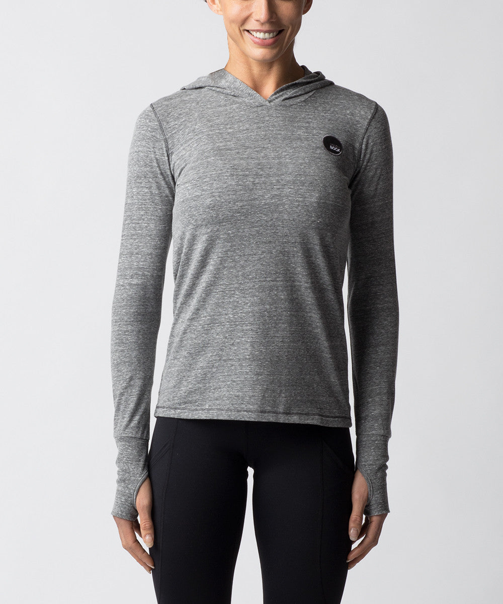 Women's Light Gray Tri-blend Long sleeve Hoodie - Front View