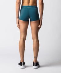 "Women's Green booty shorts with 2"" Inseam - Back View"