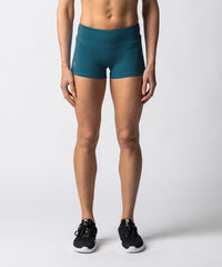 "Women's Green booty shorts with 2"" Inseam - Front View"