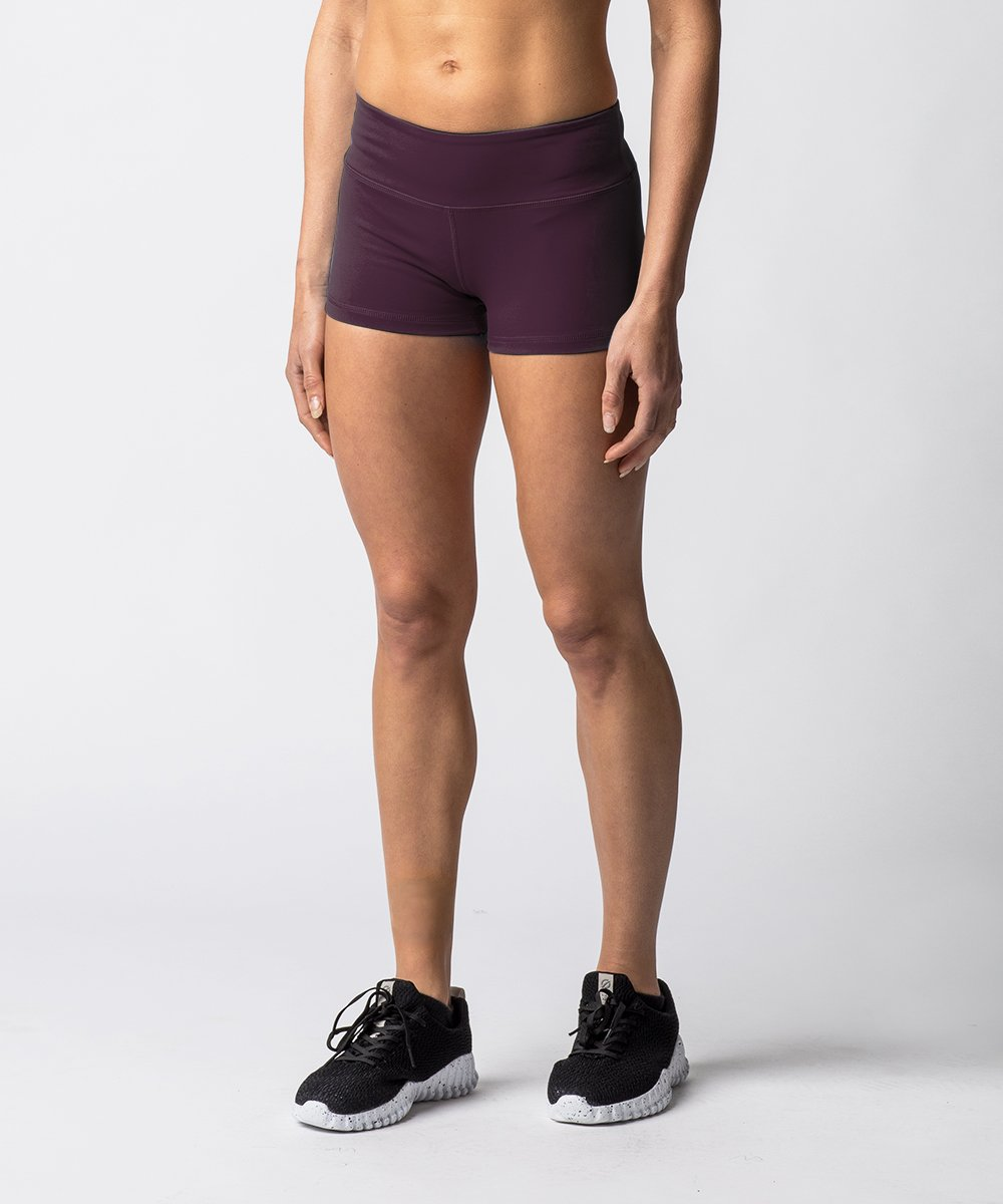 "Women's Purple training shorts with 2"" Inseam - Angle View"
