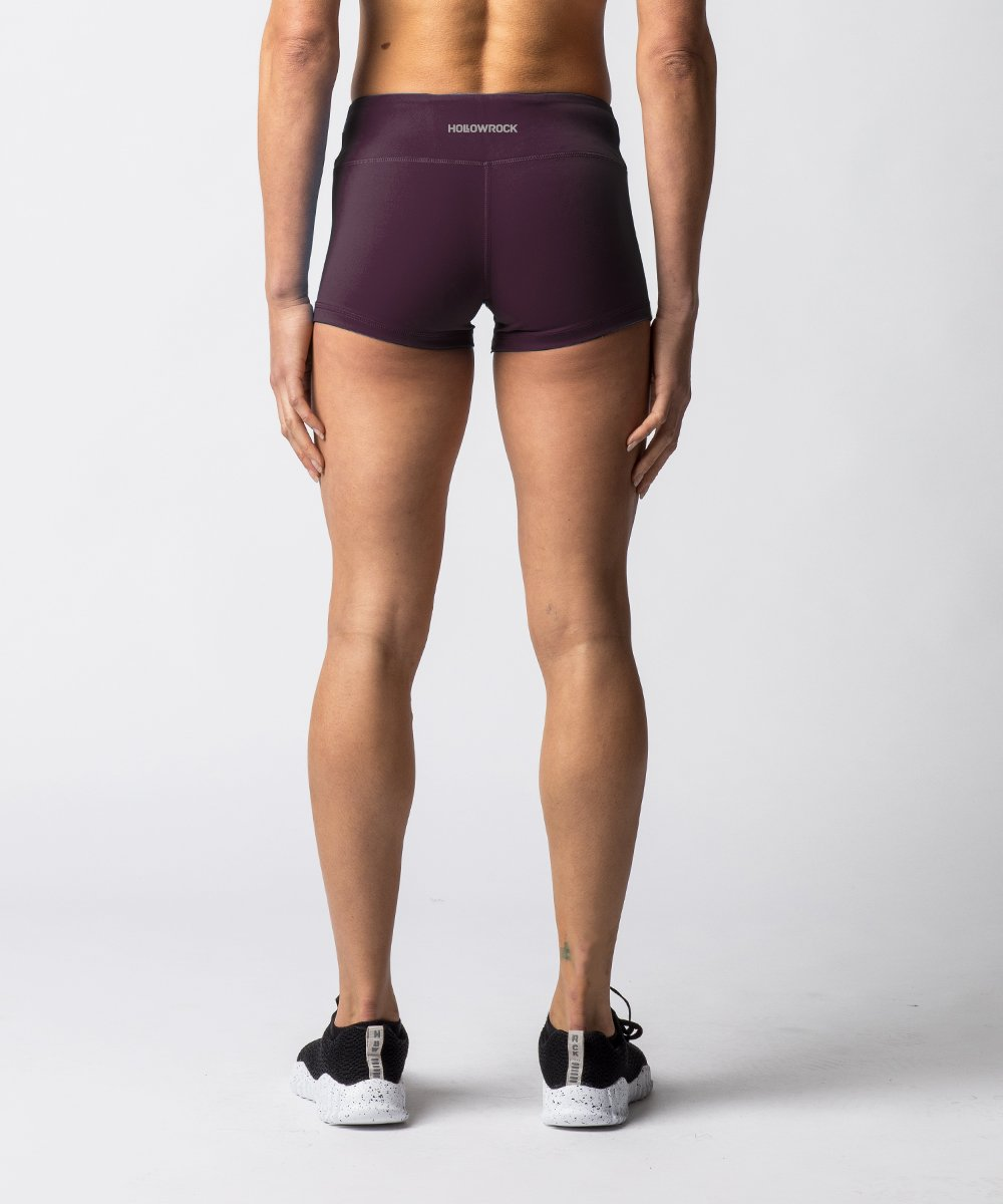 "Women's Purple training shorts with 2"" Inseam - Back View"