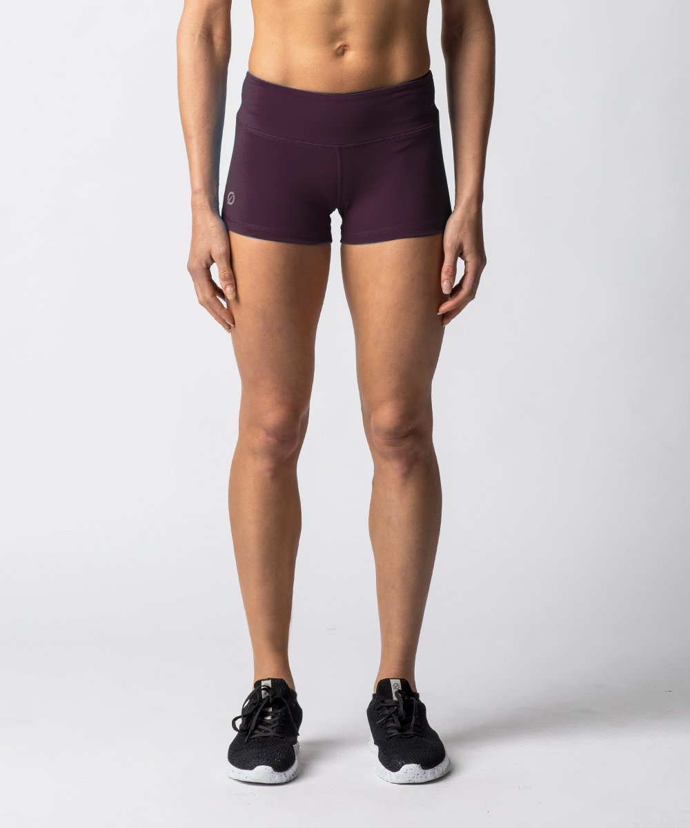 "Women's Purple training shorts with 2"" Inseam - Front View"