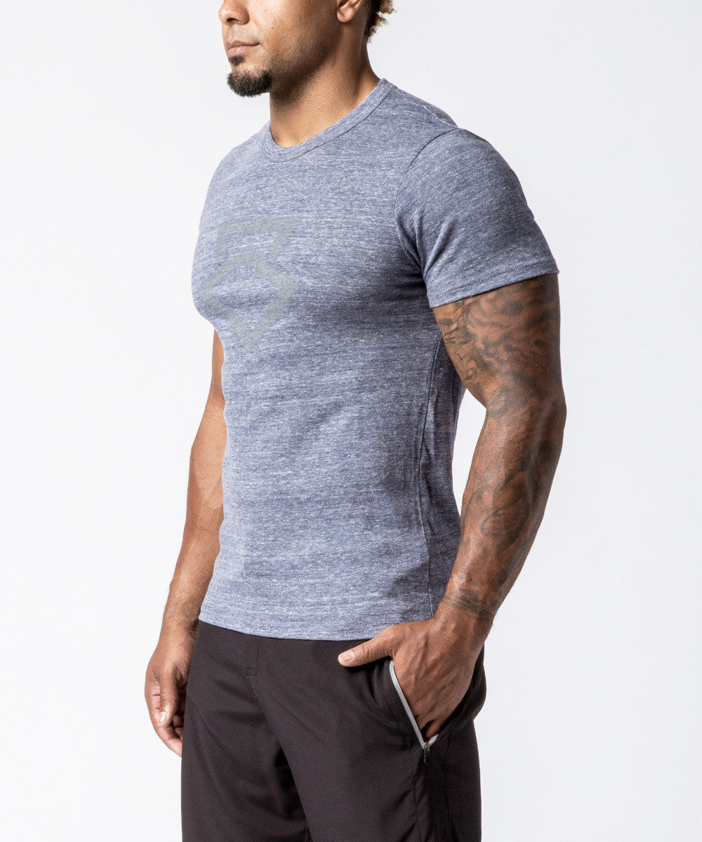 Men CrossFit Fog Blue Reflective Kettle Bell Racer Back T-Shirt