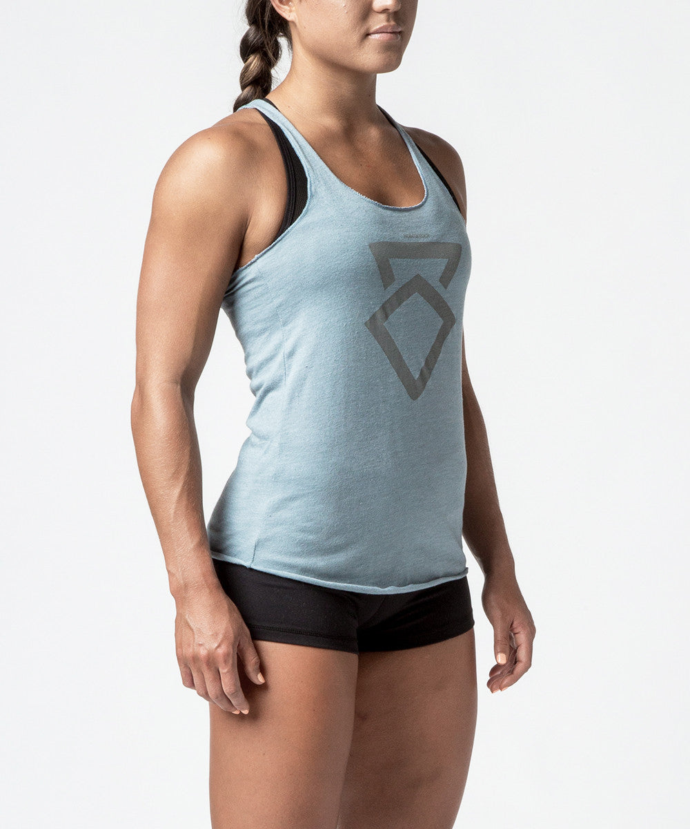 Women CrossFit Fog Blue Reflective Kettle Bell Racer Back Tank