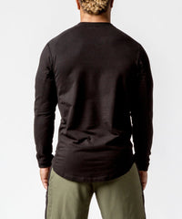 Men's black crew neck sweater with patch - back View