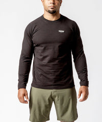 Men's black crew neck sweater with patch - Front View