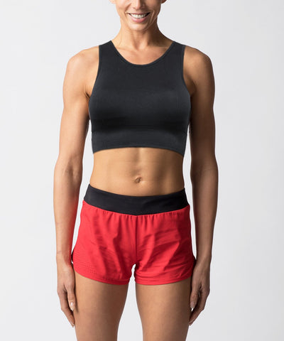 Women's seamless black sports bra with mesh - Front View