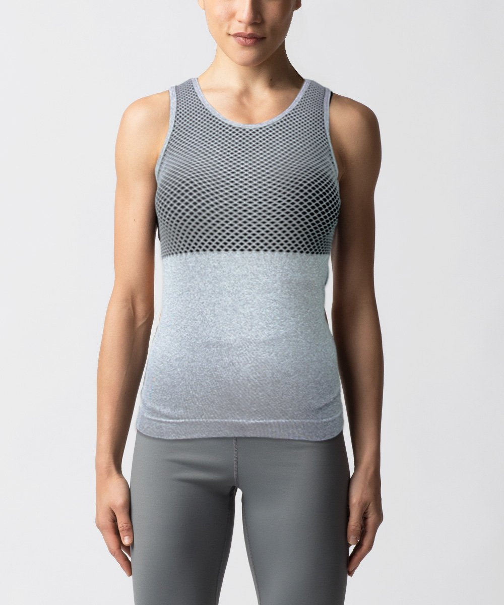 Women's Seamless gray tank - Front View
