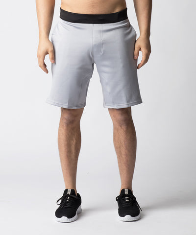 Light Grey, heavy-weighted shorts ideal for cooler temperatures.  Constructed with a shorter inseam and side-slit to remove snagging at the knees for Olympic lifts and movements.