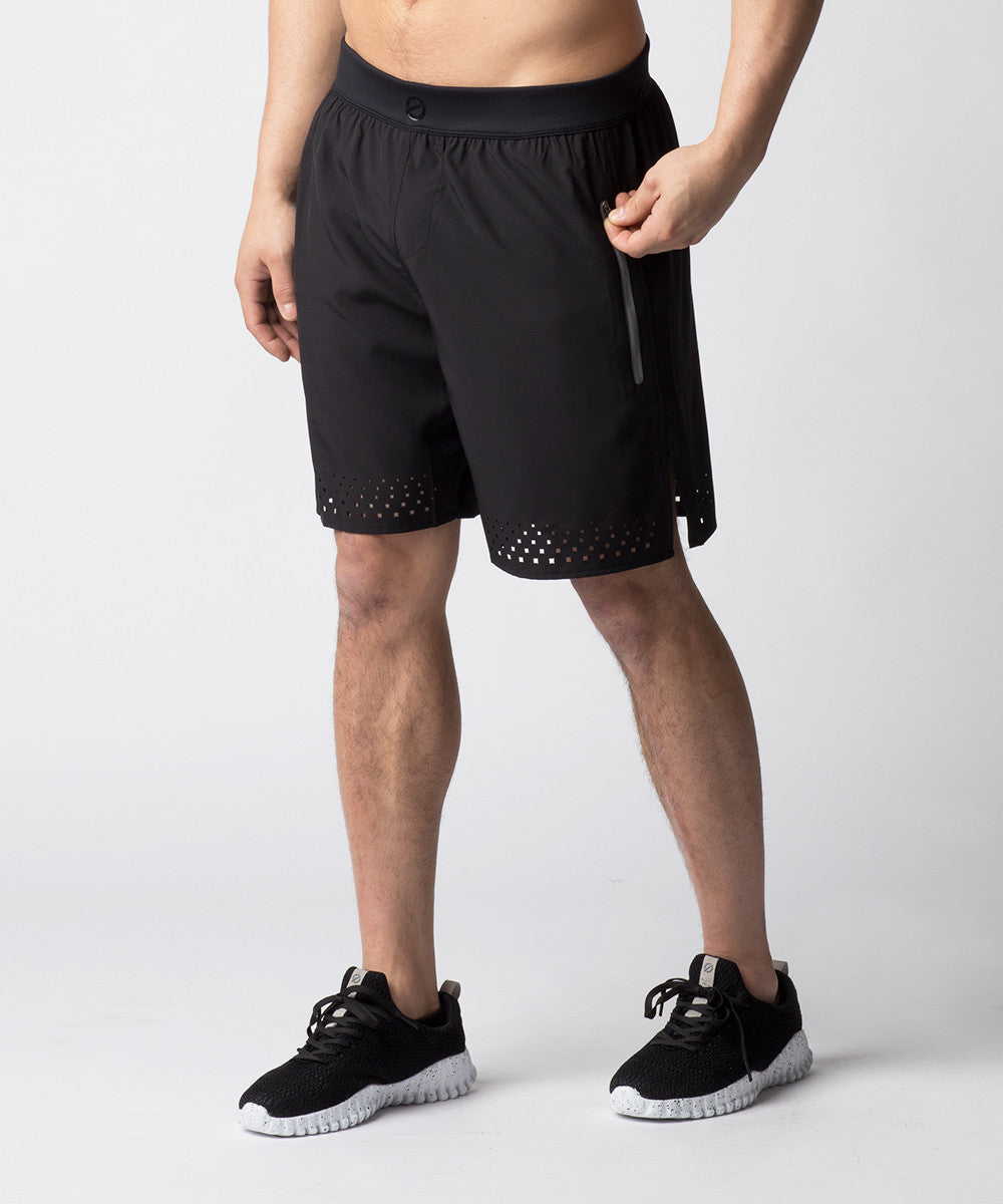 Black, ultra-lightweight black functional fitness short designed for recreational or competitive CrossFit athletes.  Constructed with laser cut details for ventilation and a comfortable waistband for flexibility.