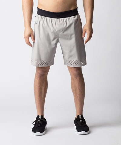 Light Grey, ultra-lightweight active wear short with laser cut details for added ventilation.  A comfort waistband provides the stretch and the flexibility needed for quick and powerful movements.