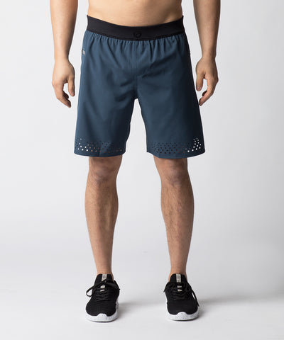 Navy, ultra-lightweight fitness short constructed with laser cut details for added ventilation.  With a comfort waistband, the short provides flexibility for quick and powerful movements.