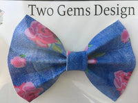 Hair Bow - Cinched (Denim-Look)-Baby-Two Gems Design Co.-[color]-Swan Maternity | Baby-[size]