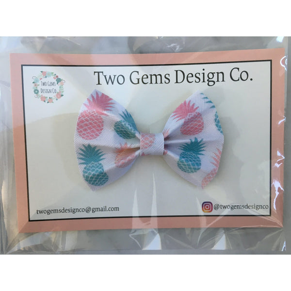 Hair Bow - Cinched (Pineapples)-Baby-Two Gems Design Co.-[color]-Swan Maternity | Baby-[size]