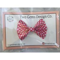 Hair Bow - Cinched (Pink&Dots)-Baby-Two Gems Design Co.-[color]-Swan Maternity | Baby-[size]