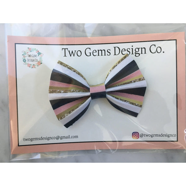 Hair Bow - Cinched (Stripes)-Baby-Two Gems Design Co.-[color]-Swan Maternity | Baby-[size]