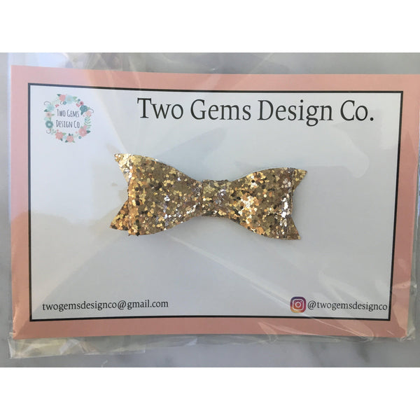 Hair Bow - Classic (Gold Sparkle)-Baby-Two Gems Design Co.-[color]-Swan Maternity | Baby-[size]