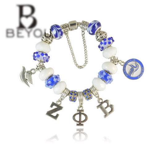 Zeta Phi Beta Charm Bead Bracelet - I Am Greek Life