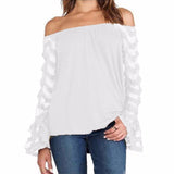 Women Blouse Off Shoulder Mesh Long Sleeve Lace Shirt - I Am Greek Life