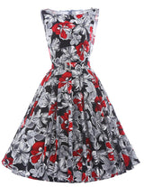 Print Floral 50s 60s Vintage Dress - I Am Greek Life