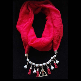 Diamond DST Scarf with Necklace Drop Pendant