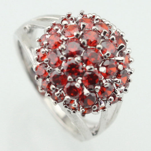Red Stone Silver Plated Ring - I Am Greek Life