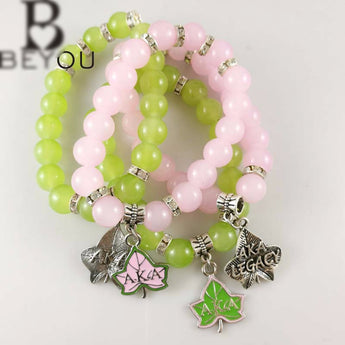 AKA  Pink and Green Legacy Bracelet - I Am Greek Life