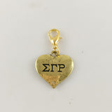 Sigma Gamma Rho Gold Heart Charm - I Am Greek Life