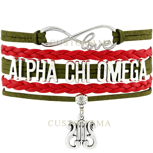 Infinity Love Alpha Chi Omega Bracelet - I Am Greek Life