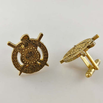 Gold Plated Q-Dog Cufflinks - I Am Greek Life