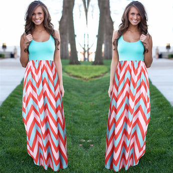 Dazzling Long Summer Print Dress