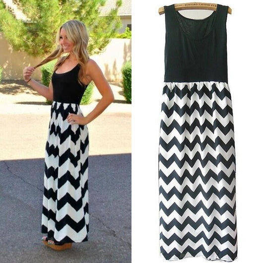 Dazzling Long Summer Print Dress - I Am Greek Life