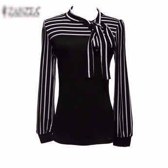Black & White Stripe Long Sleeve Blouse - I Am Greek Life