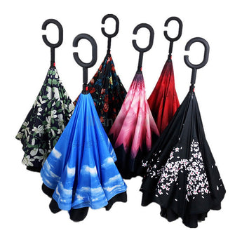 Folding C Handle Windproof Double Layer Upside Down Inverted Reverse Umbrella - I Am Greek Life