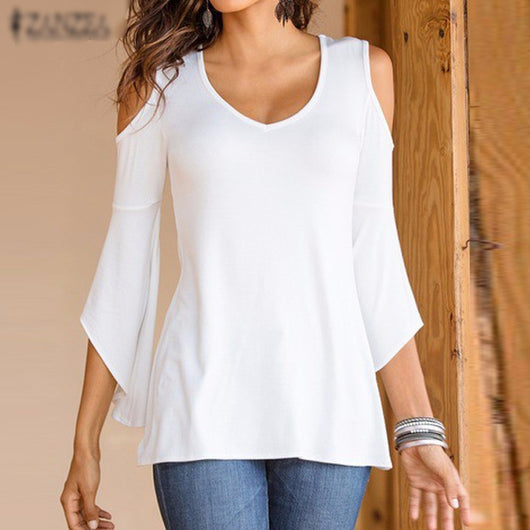 Off Shoulder V Neck Flare Casual Solid - I Am Greek Life