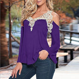 Girl's Night Out V Neck Long Sleeve Lace Hollow out Crochet Blouse