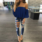 I Love Summer Half Sleeve Slash Neck Strapless Off Shoulder Blouse - I Am Greek Life