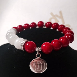 Gorgeous DST Red and White Custom Bead Bracelet - I Am Greek Life