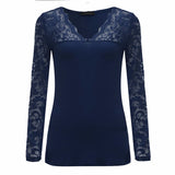 New Lace Crochet V Neck Stretchy Top