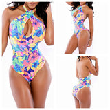 Floral print backless wrap swimsuit - I Am Greek Life
