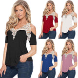 Off Shoulder Lace Top Short Sleeve - I Am Greek Life