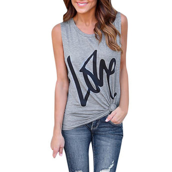 We ALL need LOVE Sleeveless Casual Crop Top Shirt - I Am Greek Life