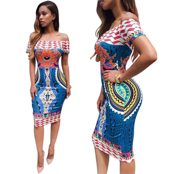 African Off Shoulder Dashiki BodyCon Dress - I Am Greek Life